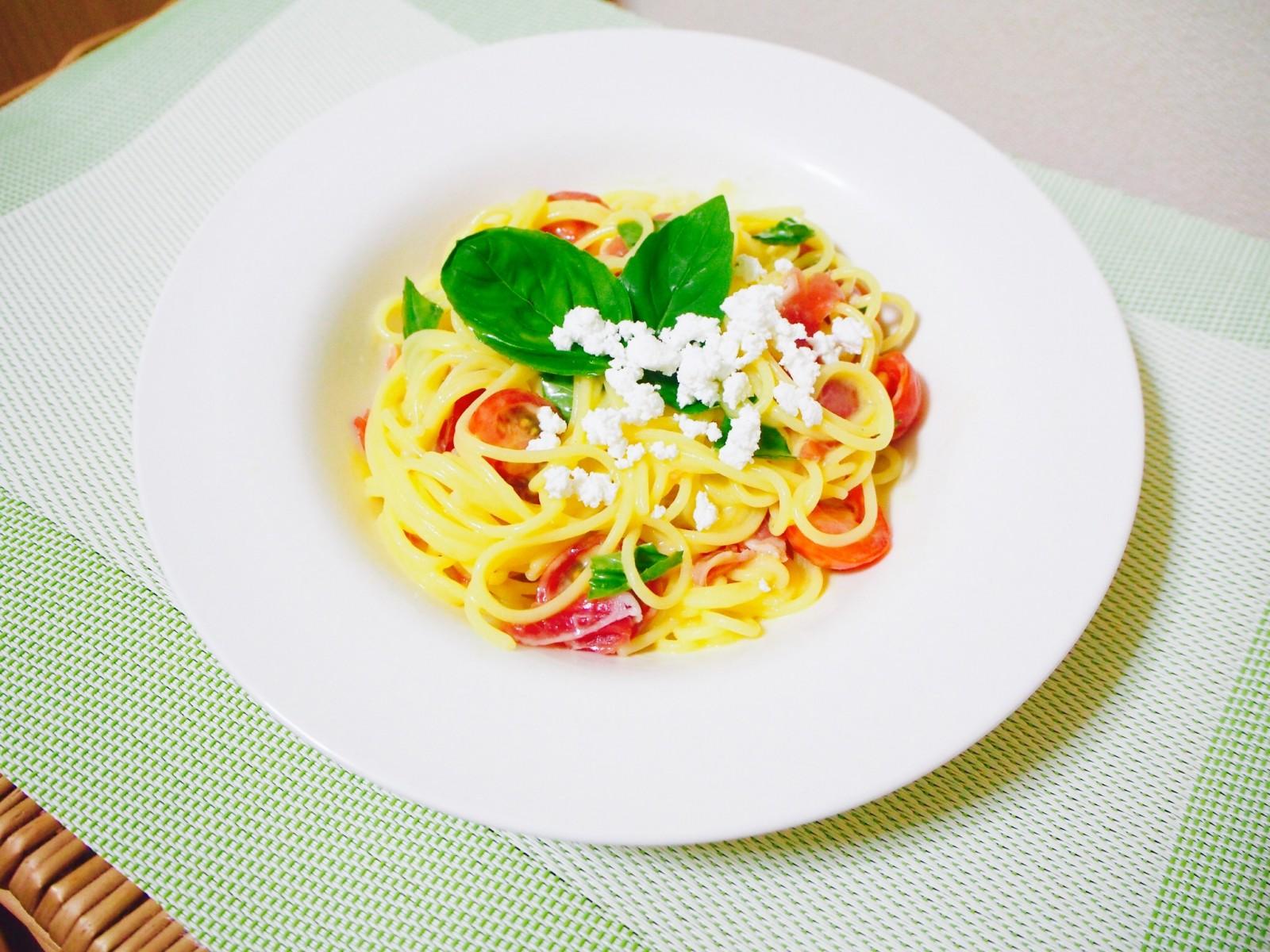 有機スパゲッティで〈マンゴーソースの冷製パスタ!!〉