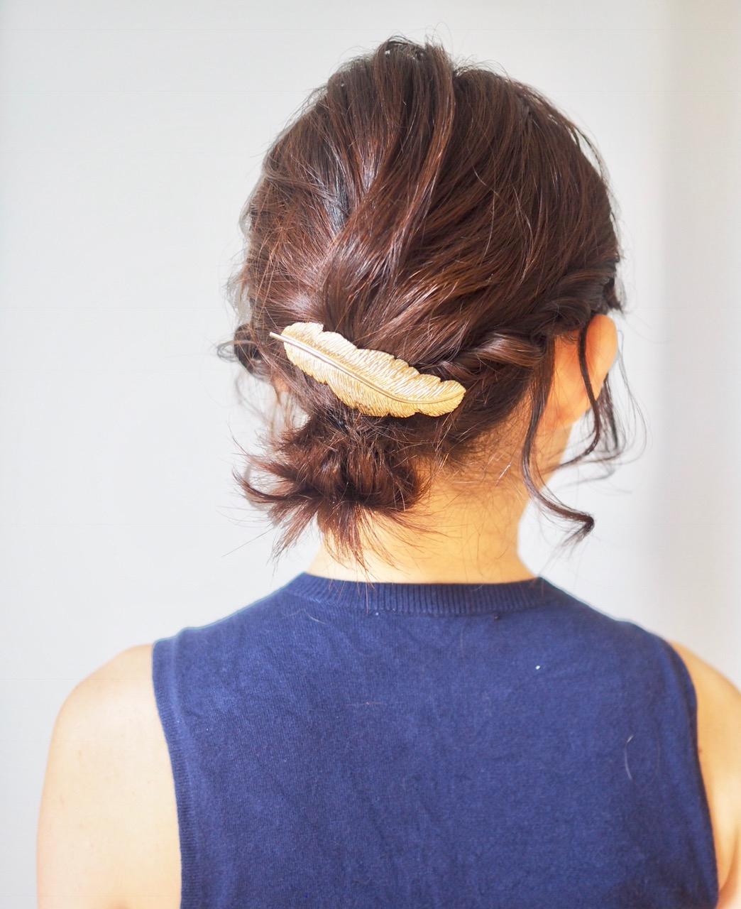 肩につかないボブスタイルでもOK!夏の色っぽまとめ髪ヘア