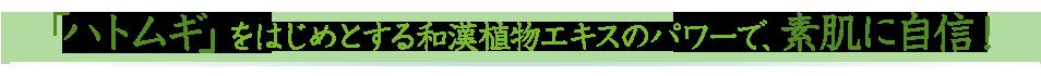 「ハトムギ」をはじめとする和漢植物エキスのパワーで、素肌に自信!