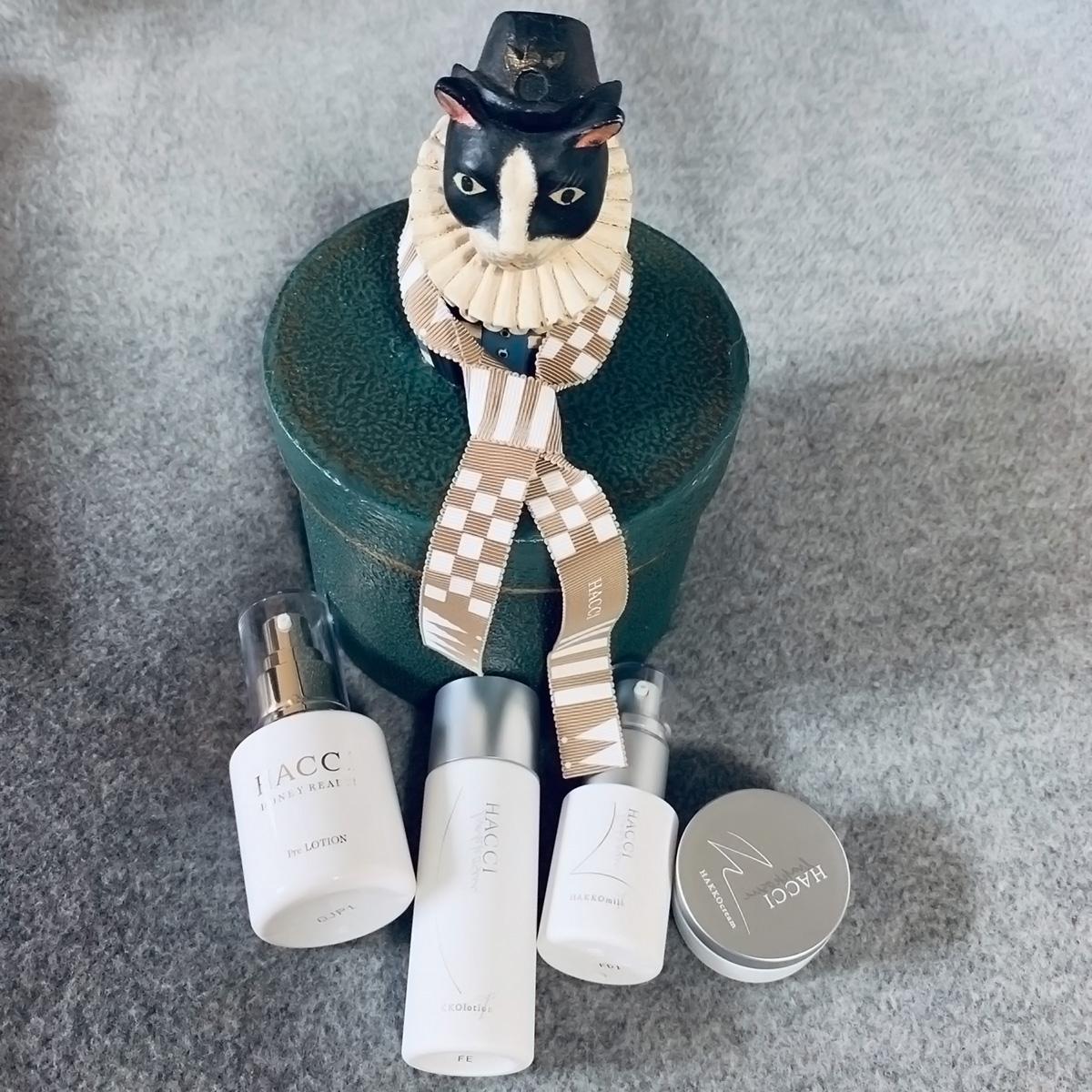"""猫ボックス付き『HACCI』の2019年クリスマスコフレ。""""肌においしい発酵""""から生まれた新スキンケアラインをたっぷり体験しちゃいました! #金曜日の肌投資コスメ"""