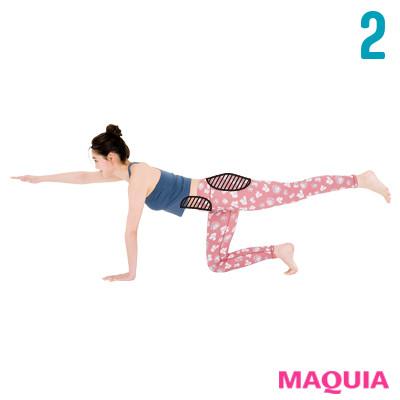 左足を上げながら、対角線上の右手をぴんと伸ばす