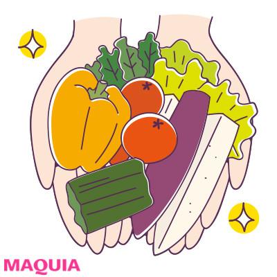 1日に両手いっぱいの野菜をとるのが理想的