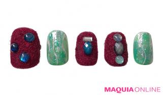 今年らしいボルドー「ベルベット」ネイルは、天然石の輝きでドレスアップ!