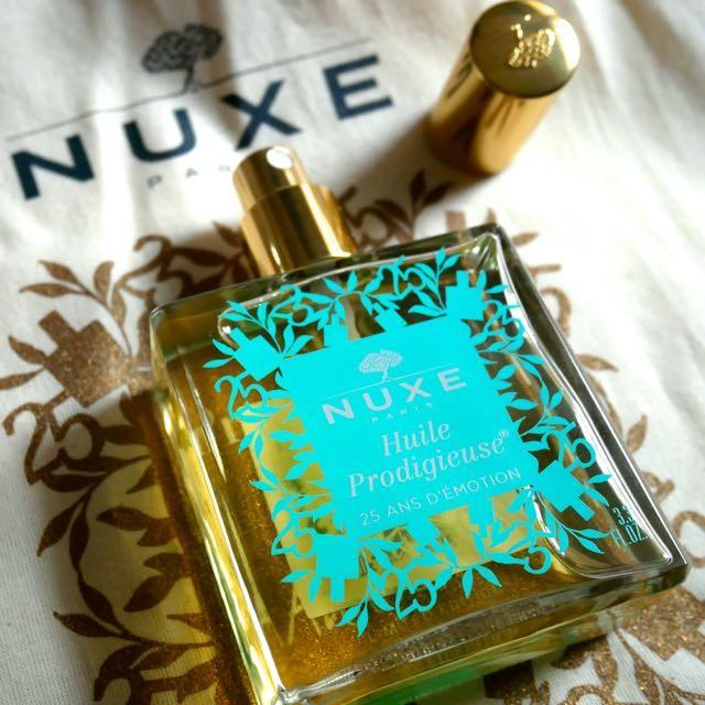 香水瓶のように美しい美容オイルは98.1%自然由来。顔・体・髪この一本でつやつや!私は旅行にも必ず持ち歩く。ニュクス「プロディジュー オイル」2017.4.12リニューアル&25周年記念ボトル(ターコイズ)全国発売