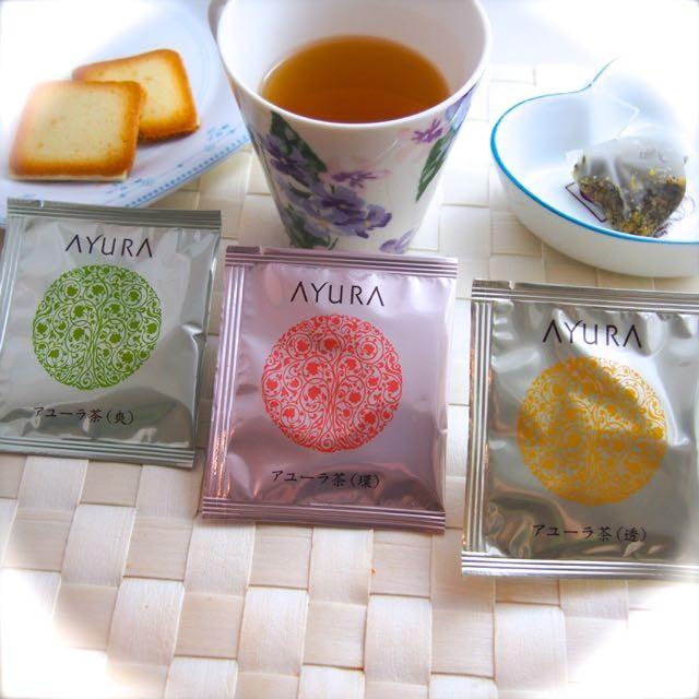 AYURAにはお茶もあるんです♡アユーラ茶(透)(環)(爽)3種類、色と香りも楽しめて心身に効く〜さすがコスメブランドの美容を意識したハーブティ。