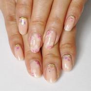 爪先も春満開♡手描きで上品桜ネイル!