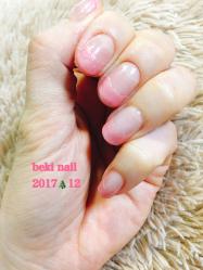 【シンプルだけどXmasっぽく】beki nail 2017.12ver