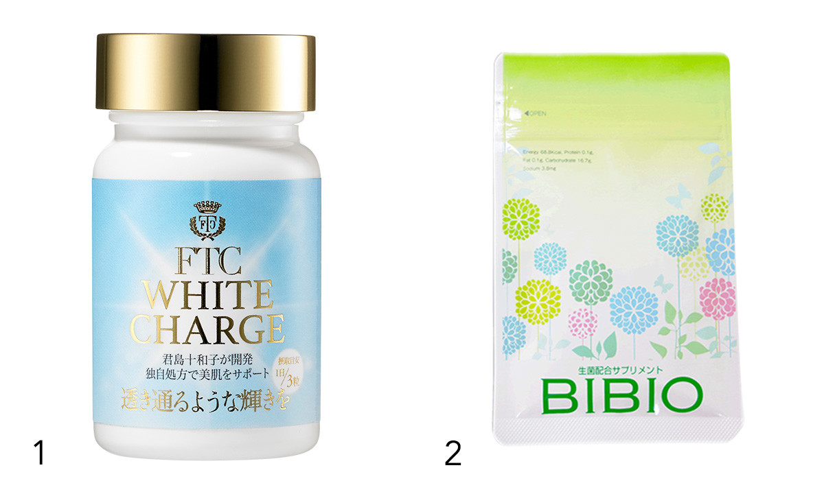 1 毛細血管を活性化させ、腸内環境を整えながら肌のうるおいや透明感をサポート。肌・腸・毛細血管の三位一体ケア。FTC ホワイトチャージ 90粒(30日分) ¥5400/FTC   2 乳酸菌、酪酸菌、糖化菌が共生することで、より高い整腸効果が期待できる。BIBIO 180粒入り ¥4500/ドクターズデザインプラス