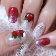 【セルフネイル】大人のクリスマスネイル 2019❤ポインセチアの手描きネイル❤