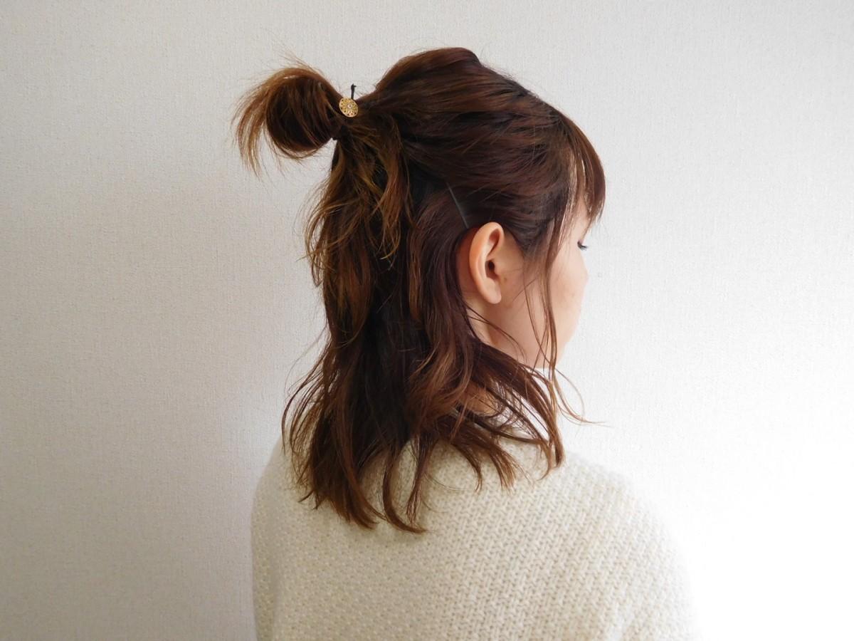 可愛いお団子ハーフアップのヘアアレンジ♡