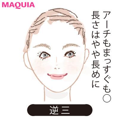 【2020年トレンド眉の書き方】顔型別に似合う眉_逆三