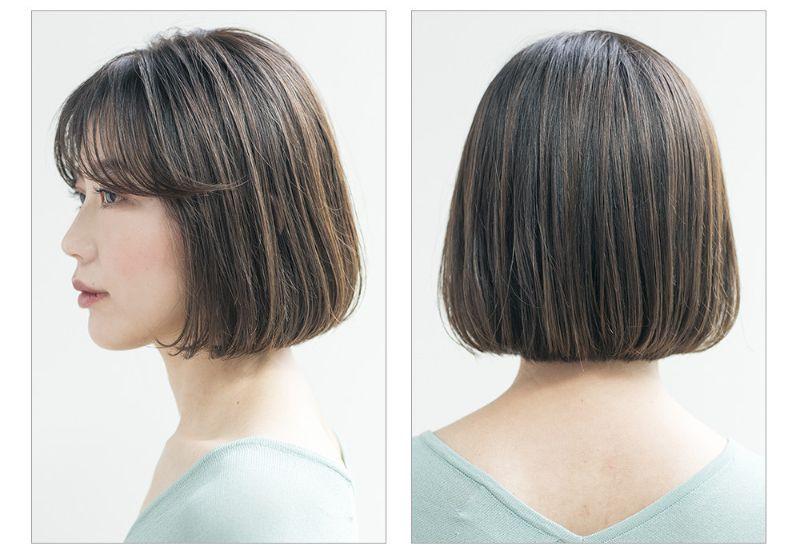 【ヘアカタログ | 髪型別・前髪ありのおすすめヘアアレンジまとめ】ボブ_自然体で若見えしちゃう、シースルーバングボブ2