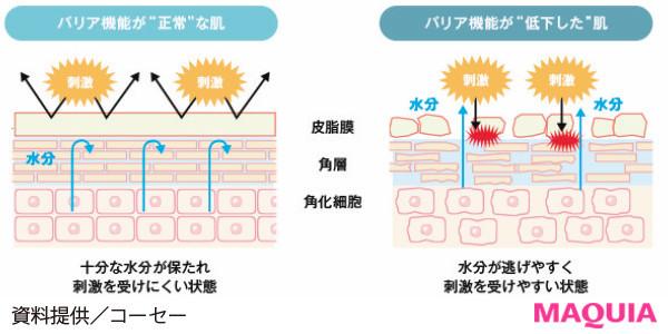 【肌の赤みやピリピリを予防したり、肌質を改善することはできる? 女性ホルモンの影響? ざわつく肌のQ&A】Q なんで肌がヒリつくの?_