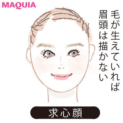 【2020年トレンド眉の書き方】顔型別に似合う眉_求心顔