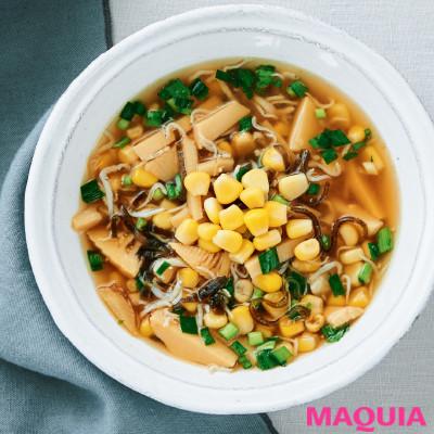 【ダイエットにもおすすめの食事やメニューは? Atsushi流レシピ】_シャキシャキ食感で満足感が高い「コーンと塩昆布のスープ」