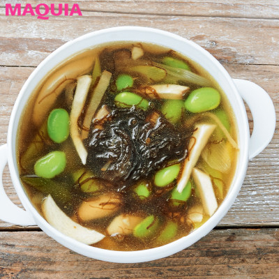 【ダイエットにもおすすめの食事やメニューは? Atsushi流レシピ】_腸のお掃除にもおすすめ「枝豆ともずくのスープ」