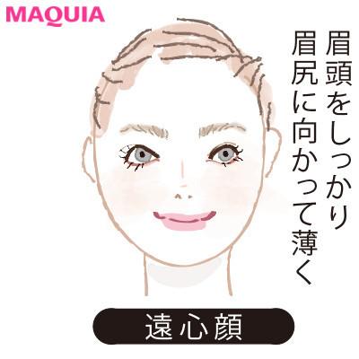 【2020年トレンド眉の書き方】顔型別に似合う眉_遠心顔