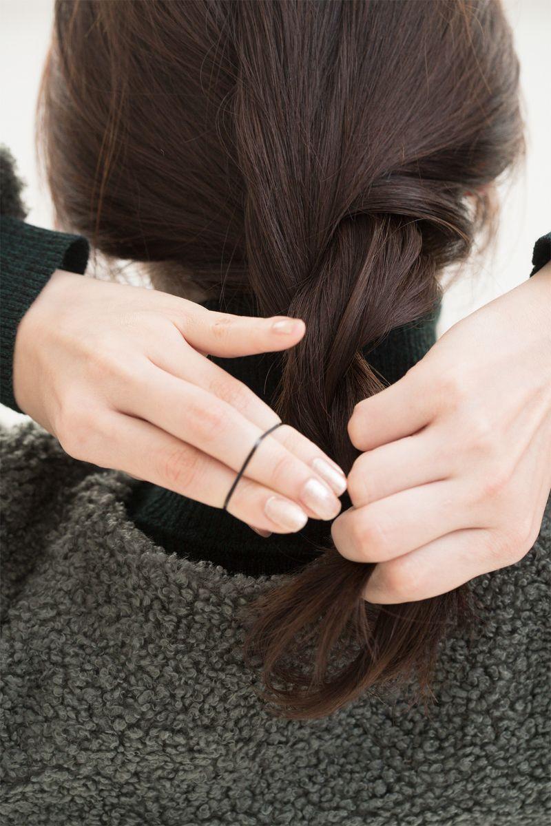 【ヘアカタログ | 髪型別・前髪ありのおすすめヘアアレンジまとめ】ねじりツイストで、上級カジュアルスタイル_4