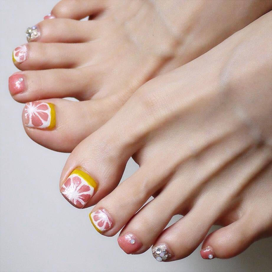 【春夏のセルフネイル】ピンクグレープフルーツフットネイル_7