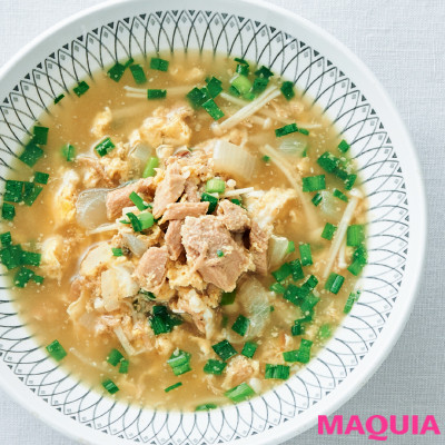 【ダイエットにもおすすめの食事やメニューは? Atsushi流レシピ】_優しい味で風邪をひいたときにも◎ 「ツナと卵のスープ」