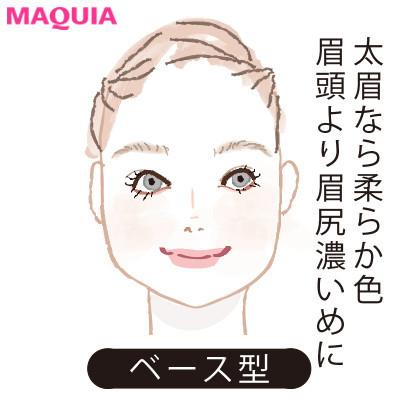 【2020年トレンド眉の書き方】顔型別に似合う眉_ベース型