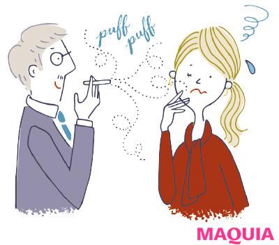 【肌の赤みやピリピリを予防したり、肌質を改善することはできる? 女性ホルモンの影響? ざわつく肌のQ&A】Q タバコの煙は吸い込まなければ問題ナシ?_