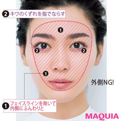 【長井かおりさんのメイクテク | アイシャドウ、チーク、リキッドファンデーションの使い方】顔の中央だけにふんわりと:フォギーホワイトタイプ_2