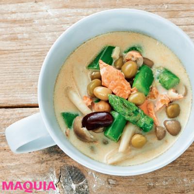 【ダイエットにもおすすめの食事やメニューは? Atsushi流レシピ】_たんぱく質食材がゴロゴロたっぷり「ミックスビーンズと鮭のスープ」