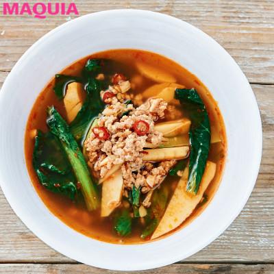 【ダイエットにもおすすめの食事やメニューは? Atsushi流レシピ】_体が温まり冷え対策にも「豚ひき肉とたけのこのピリ辛スープ」