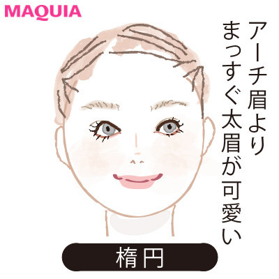 【2020年トレンド眉の書き方】顔型別に似合う眉_楕円