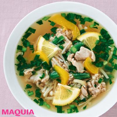 【ダイエットにもおすすめの食事やメニューは? Atsushi流レシピ】_ビタミンCもしっかりとれて美肌にも◎ 「豚肉とにらのレモンスープ」