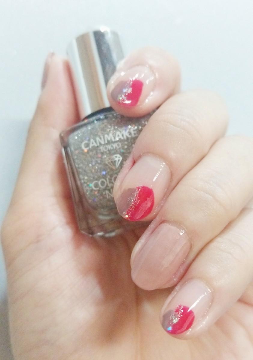 【塗りかけネイル】プチプラアイテムで、秋の色っぽ・上品赤ネイル